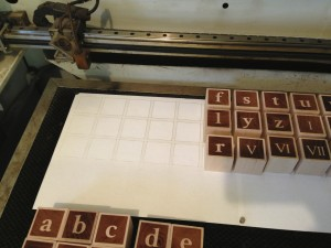 The alignment grid for batch engraving the blocks